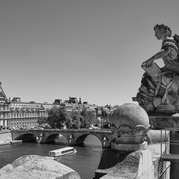 View of Seine River and statue