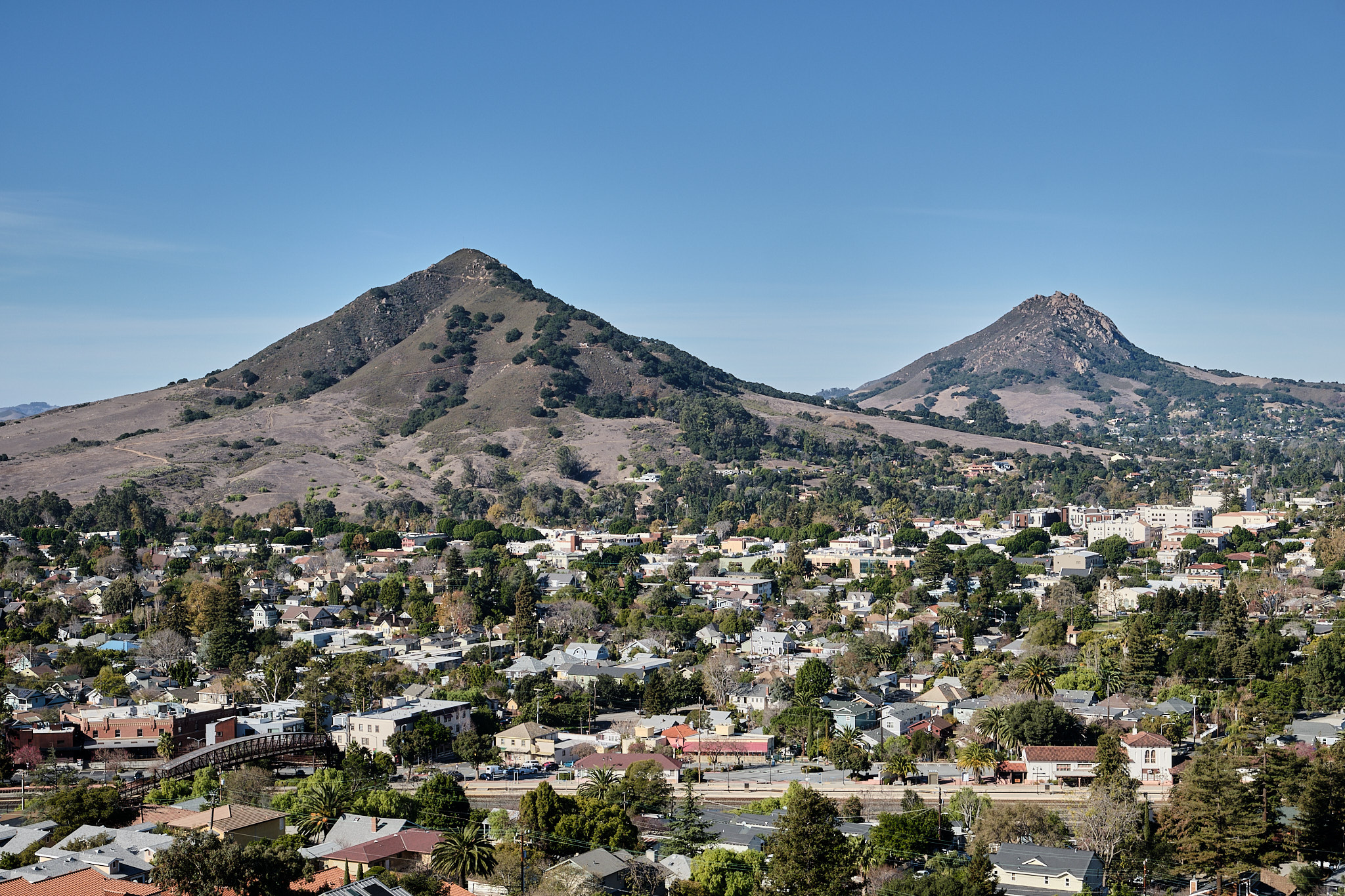View of San Luis Obispo with Cerro San Luis and Bishop Peak